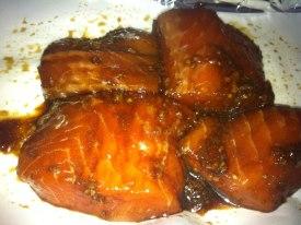 soy cubes marinated in garlic, soy, dark brown sugar and ginger